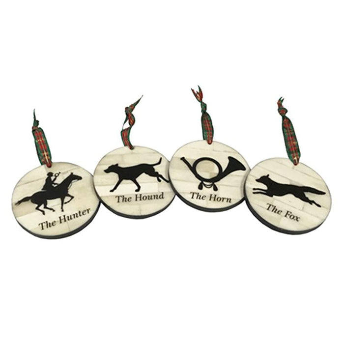 Tally Ho Scrimshaw Ornaments