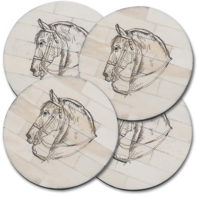 Bridled Horse Scrimshaw Coasters (set of four)