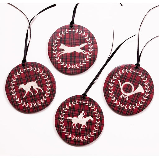 Foxhunting Ornaments Red Plaid - Set of 4