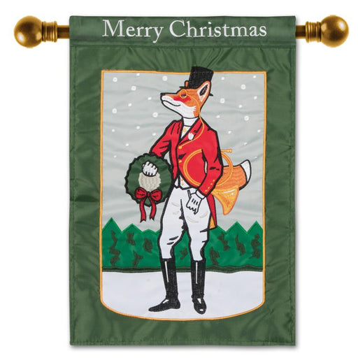 Dapper Holiday Fox Flag - Garden