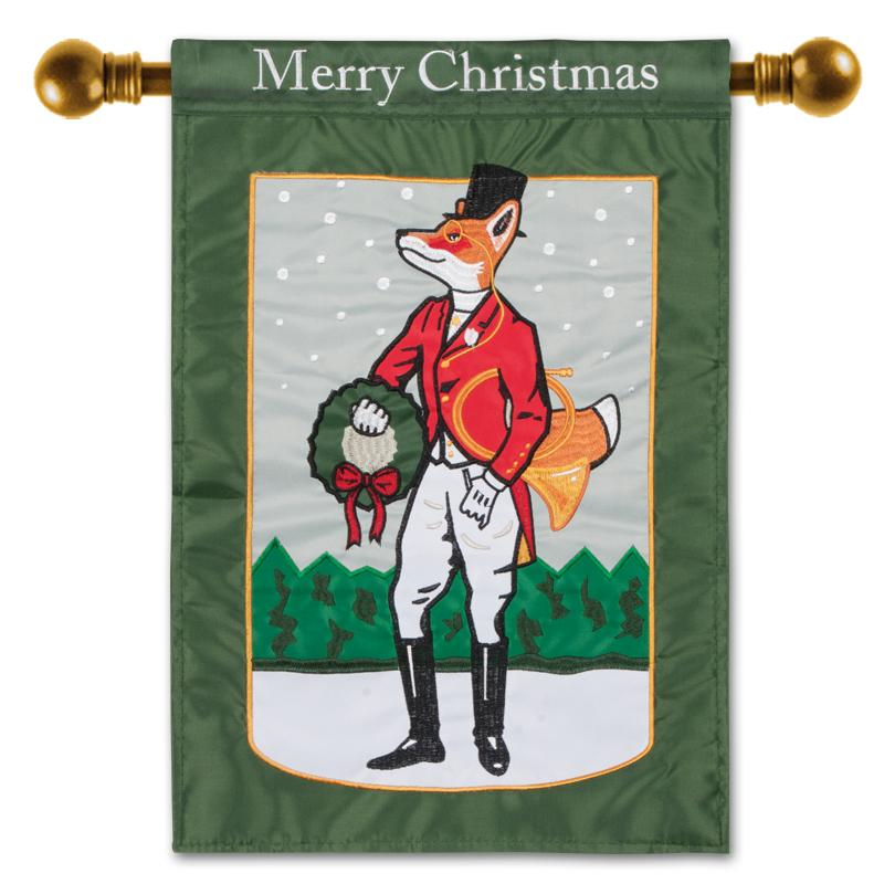 Dapper Holiday Fox Flag - Large