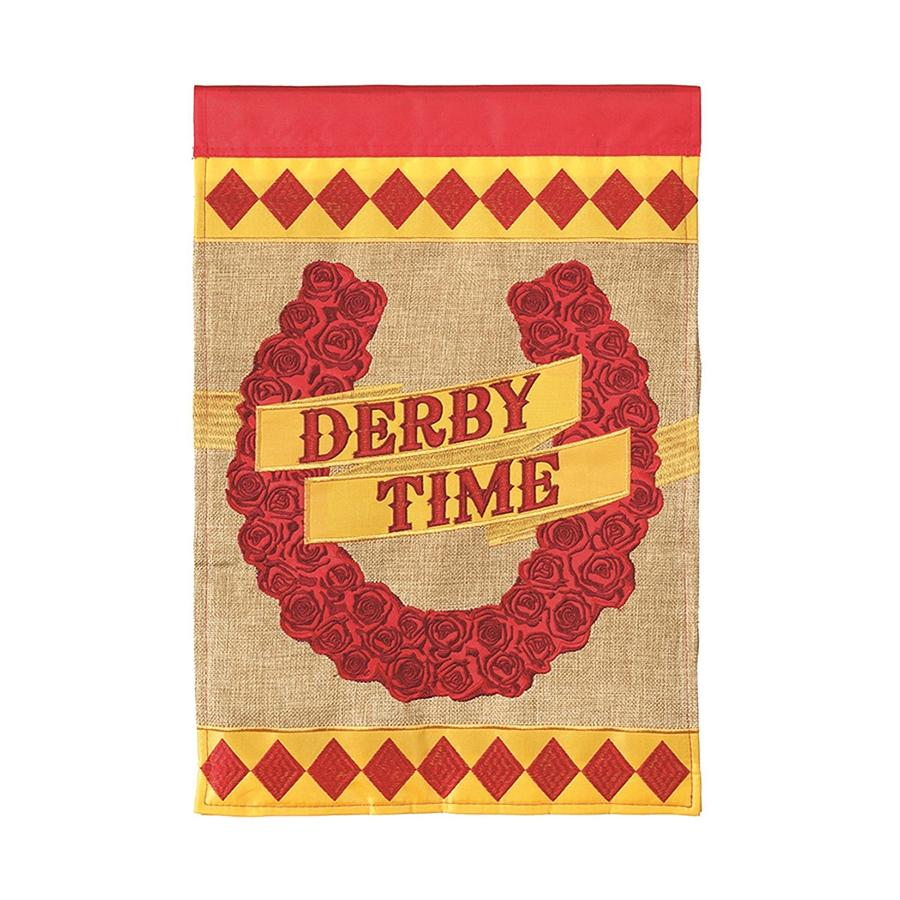 Red Roses Horseshoe Derby Flag - Small