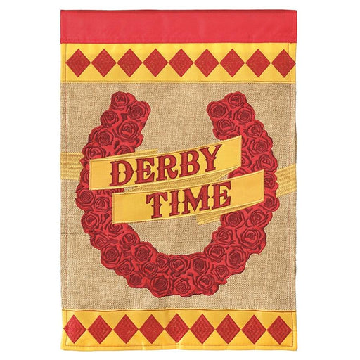 Red Roses Horseshoe Derby Flag - Large