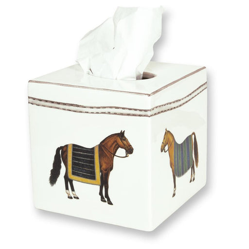 Devon Equestrian Porcelain Tissue Box