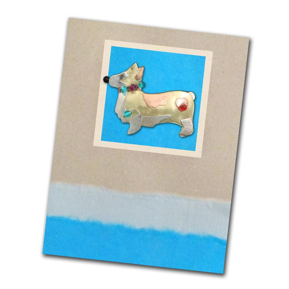 Duchess the Corgi Pin on Greeting Card