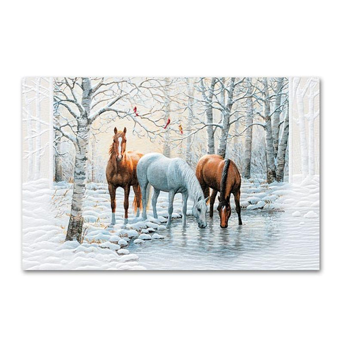 Frosty Sunshine Embossed Horse Christmas Cards