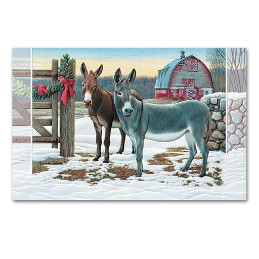 Delightful Donkeys Embossed Christmas Cards
