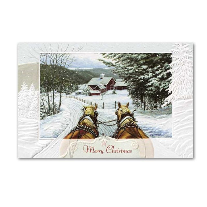 Jingle all the Way Horse Embossed Christmas Cards