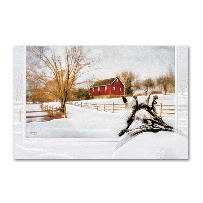 Almost Home Horse Embossed Christmas Cards