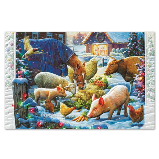 Barnyard Holiday Dinner Embossed Christmas Cards