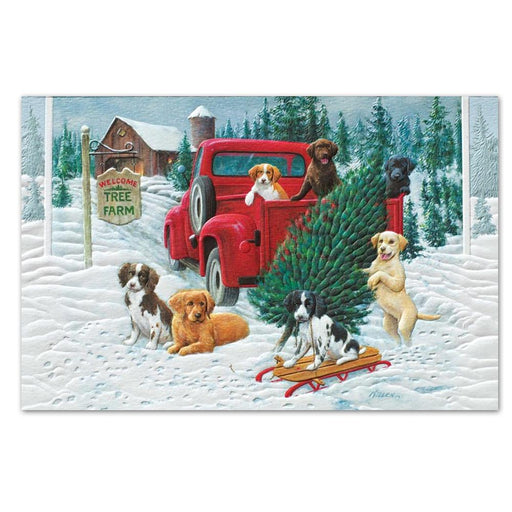 Pick-Up Puppies Embossed Christmas Cards