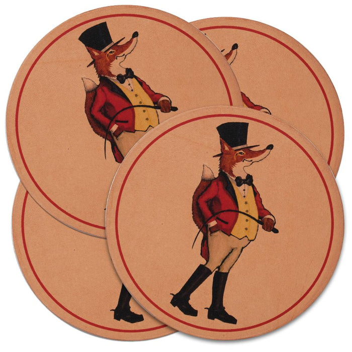 Snooty Fox Leather Coasters (set of 4)