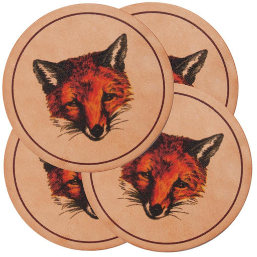 Fox Mask Leather Coasters (set of 4)