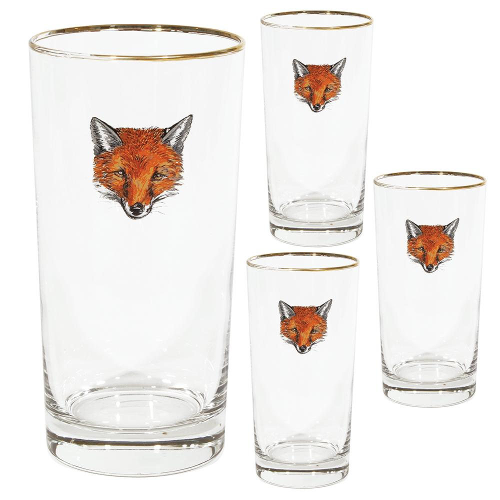 Fox Mask Highball Glass (set of 4)