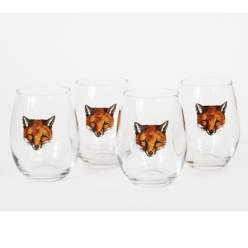 Fox Mask Stemless Wine Glass (set of 4)