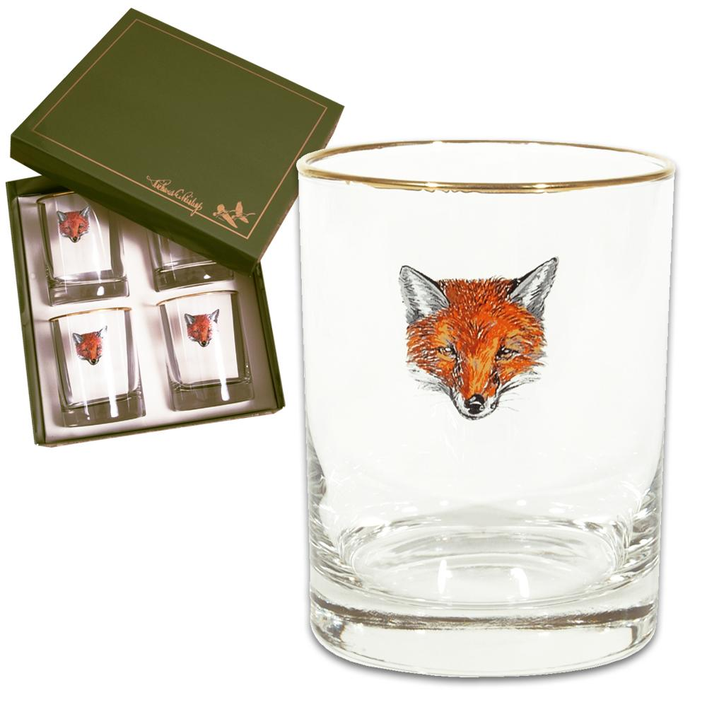 Fox Mask Double Old Fashion Glass (set of 4)