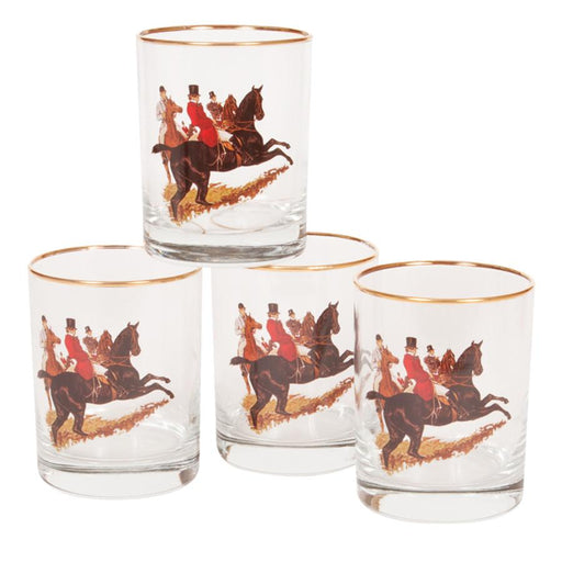 English Foxhunt Double Old Fashion Glass (set of 4)
