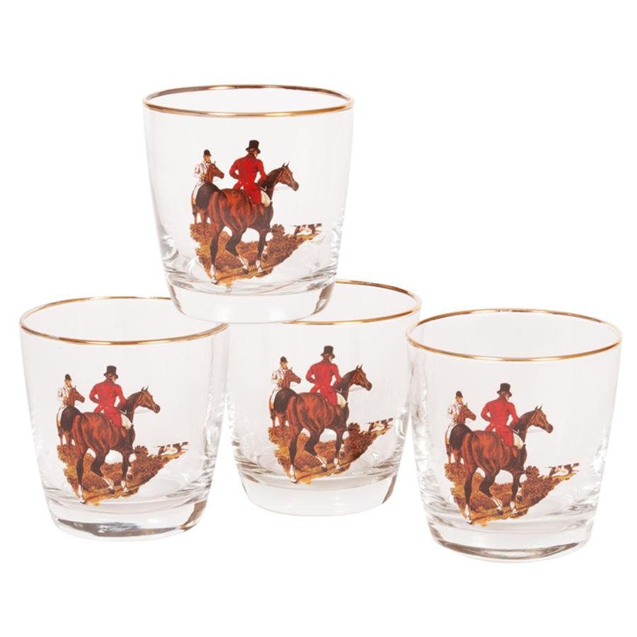 English Foxhunt Single Old Fashion Glass (set of 4)