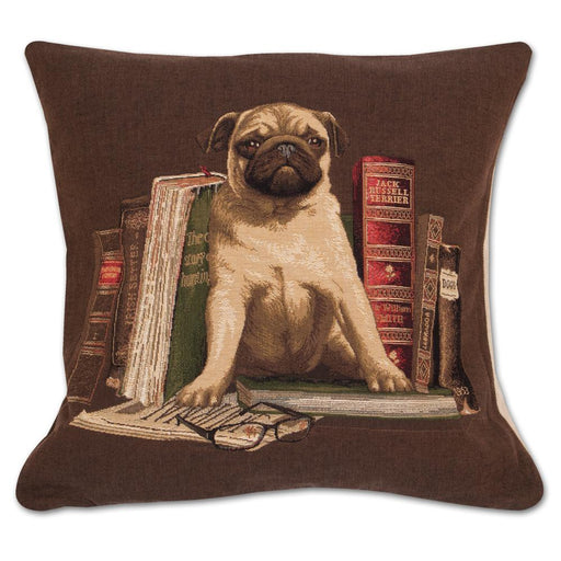 Literary Pug Tapestry Pillow