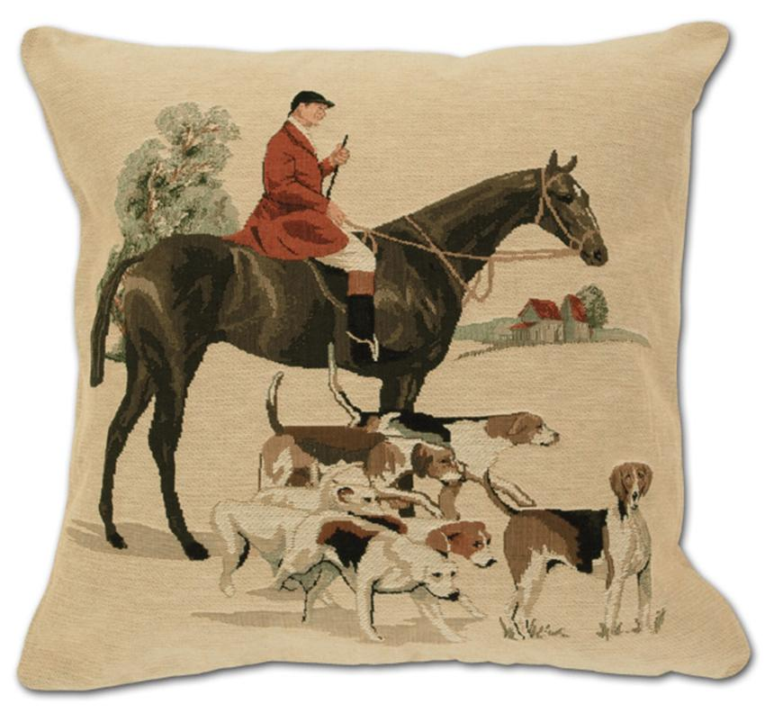 Gathering the Hounds - Tapestry Foxhunting Pillow