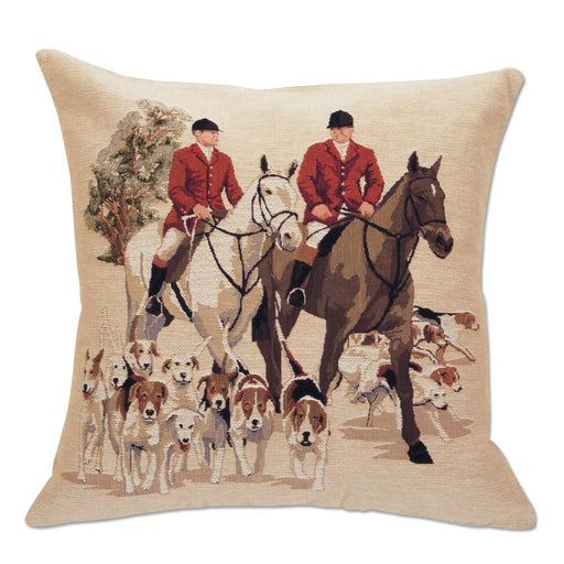 Leading the Hounds - Tapestry Foxhunting Pillow