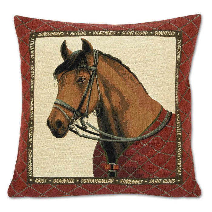 Bridled Bay Horse Tapestry Pillow