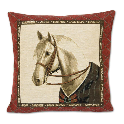 Bridled Grey Horse Tapestry Pillow