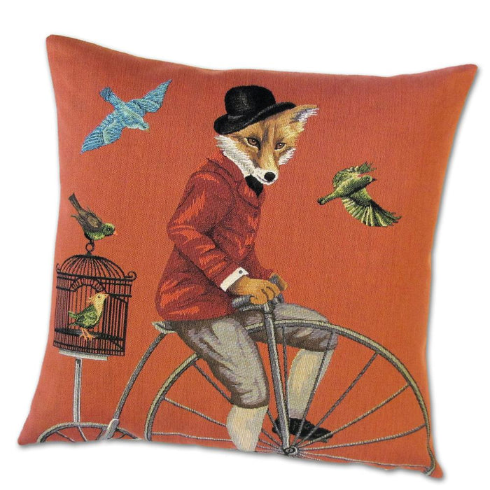 Fox on a High-Wheel Tapestry Pillow