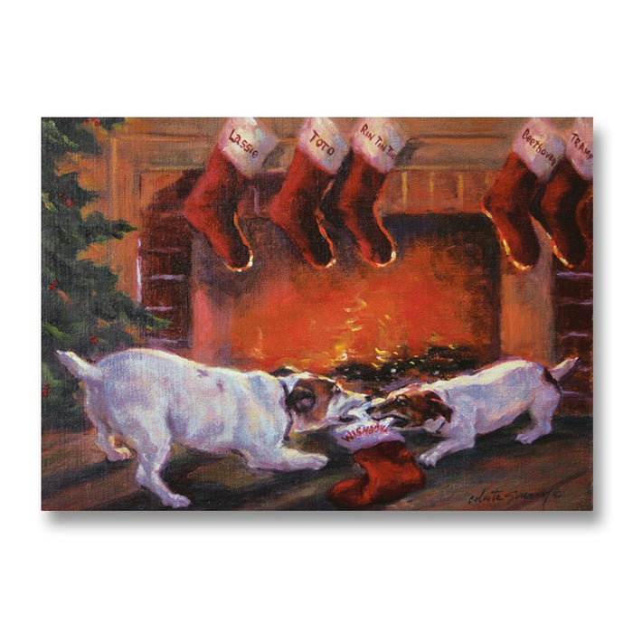 Naughty or Nice, Dog Christmas Cards by Susany