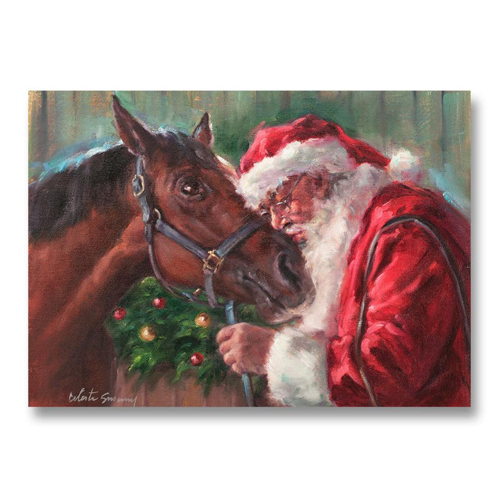 Santa Kiss, Equestrian Christmas Cards by Susany