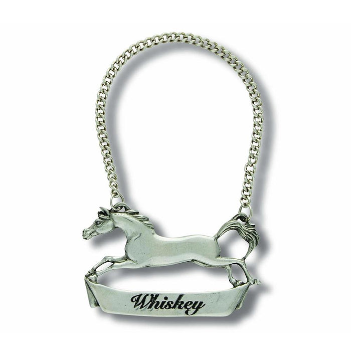 Running Horse Pewter Bottle Tag - Whiskey