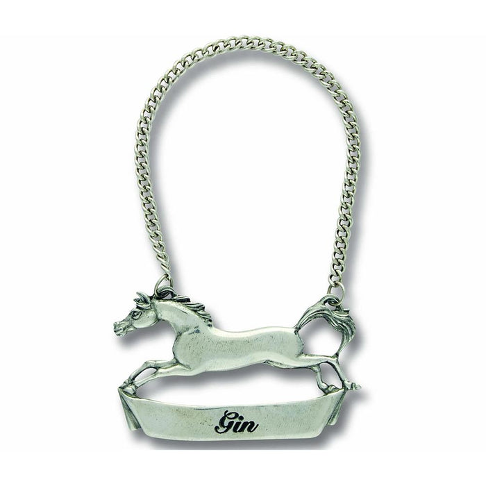 Running Horse Pewter Bottle Tag - Gin