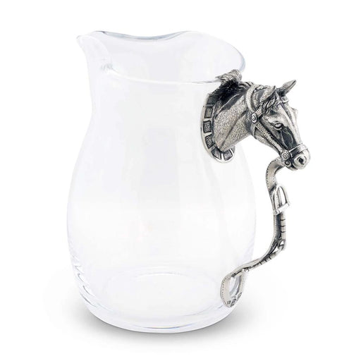 Glass and Pewter Horse Pitcher
