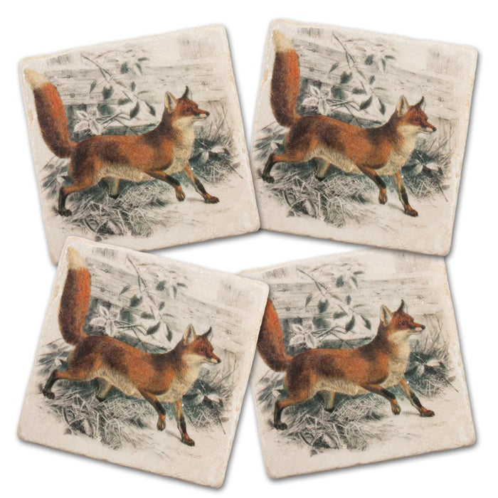 Vintage Red Fox Marble Coasters - Set of 4