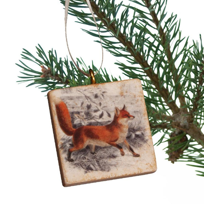 Vintage Fox Marble Ornament