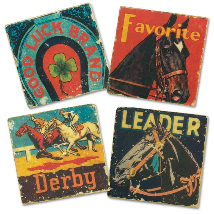 Horse Racing Marble Coasters - Set of 4