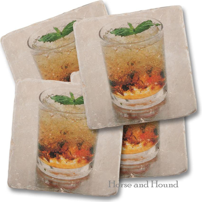 Mint Julep Marble Coasters - Set of 4