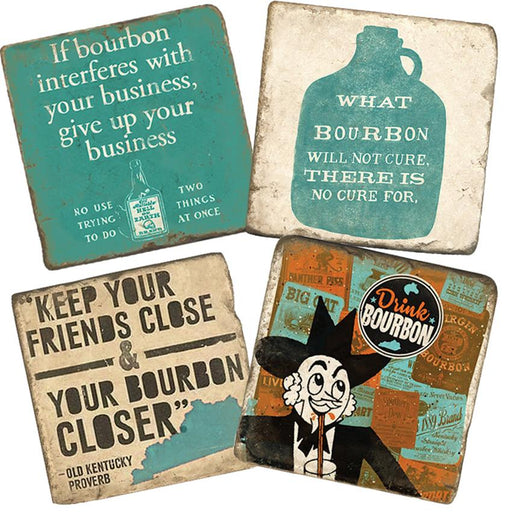 Love Your Bourbon Marble Coasters - Set of 4