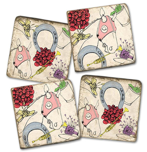 Derby Celebration Marble Coasters - Set of 4
