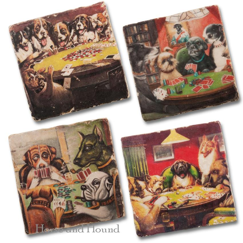 Dogs Playing Poker Marble Coasters - Set of 4