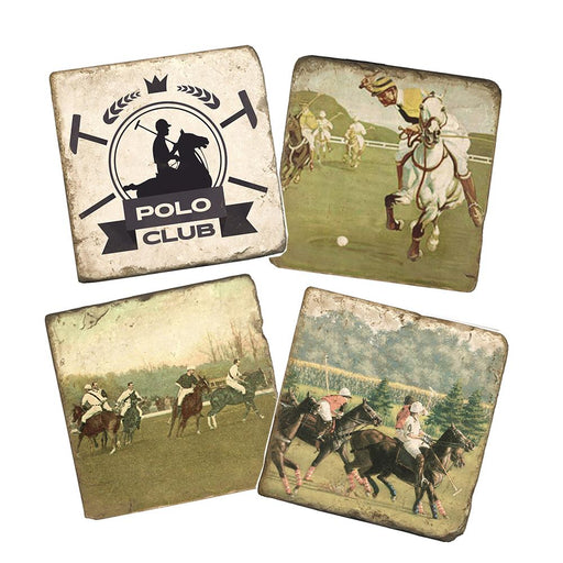 Polo Club Marble Coasters - Set of 4