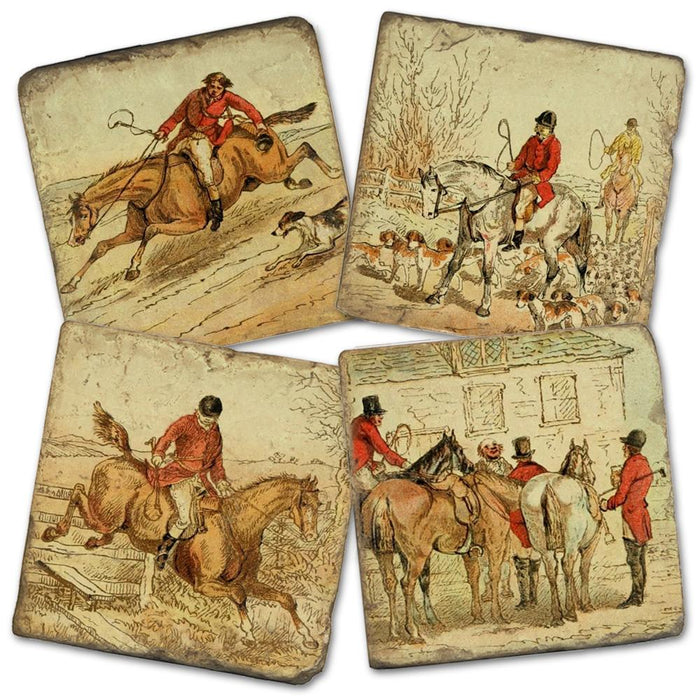 Village Foxhunt Marble Coasters - Set of 4
