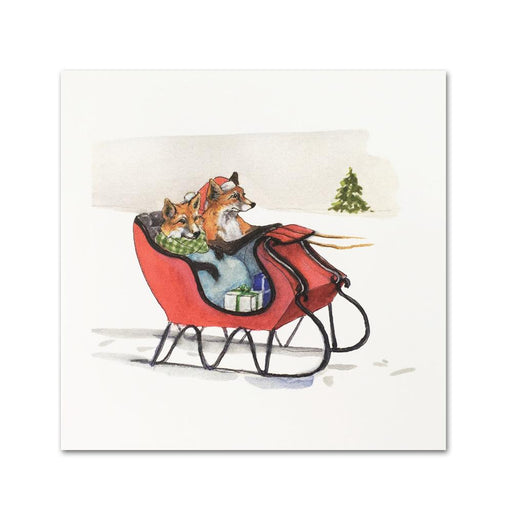 Foxes in Cutter Sleigh Christmas Enclosure Cards