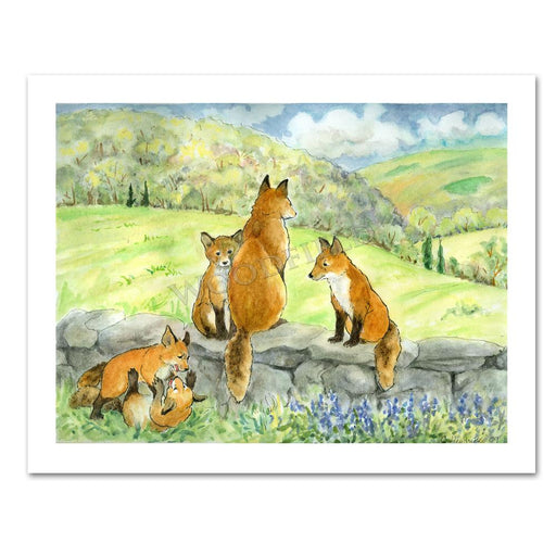 Spring Foxes Notecard by Cindy Hendrick
