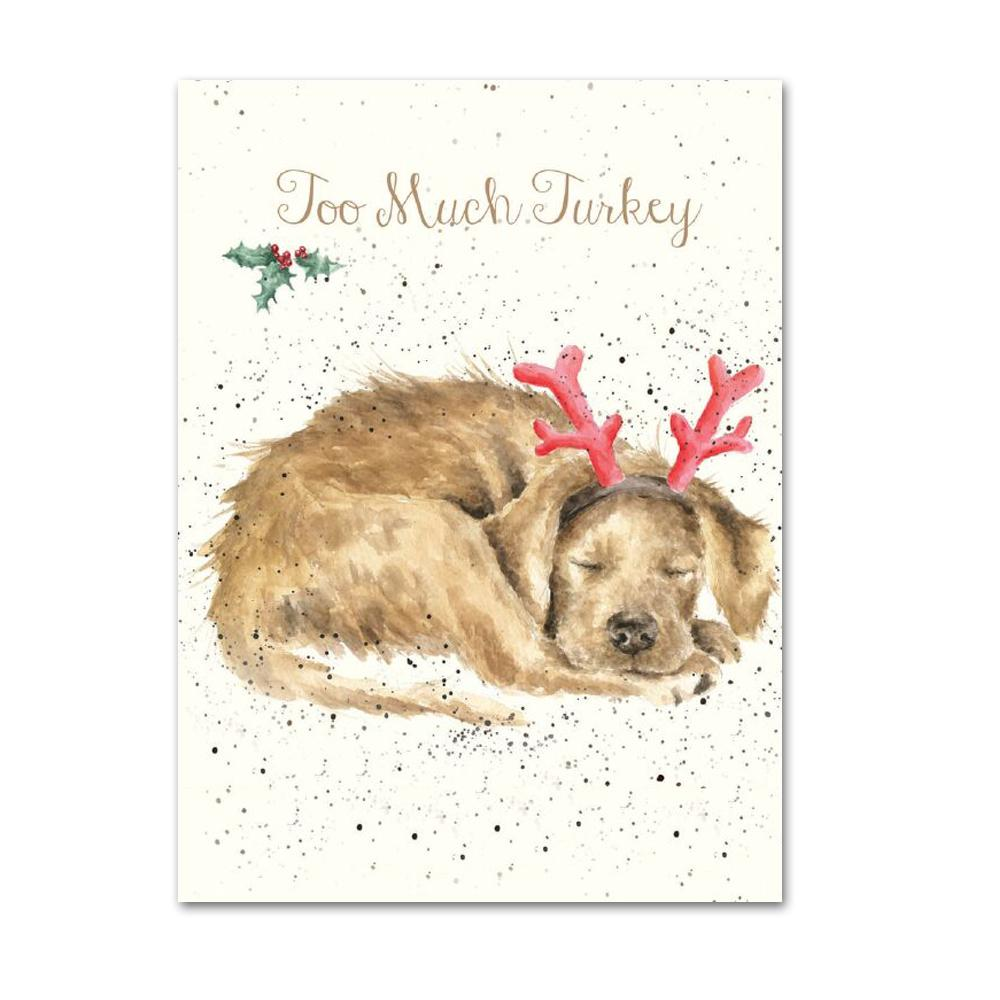 Too Much Turkey - Dog Christmas Cards