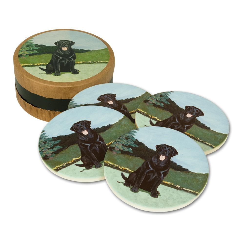 Black Lab Bisque Coasters Set of 4