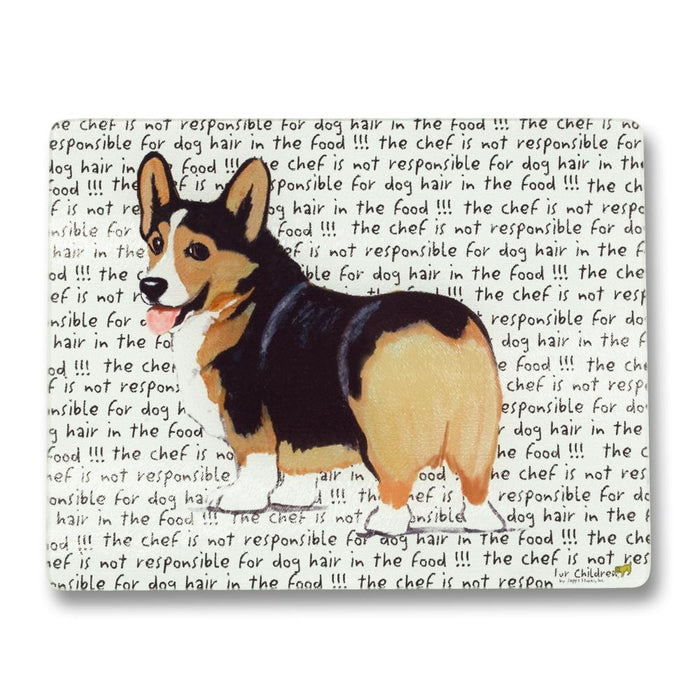 Tri-Color Corgi Glass Cutting Board
