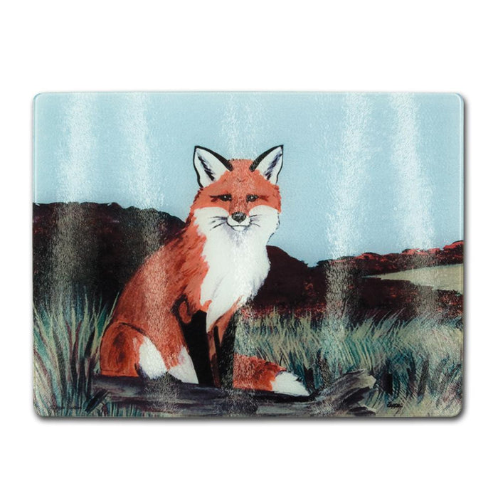 Sitting Fox Glass Cutting Board
