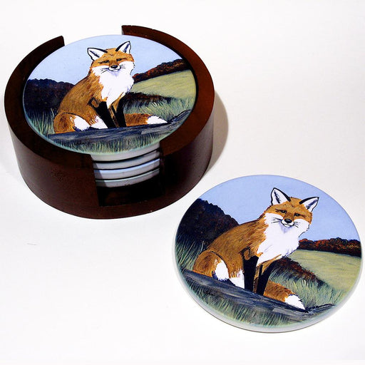 Red Fox Bisque Coasters Set of 4