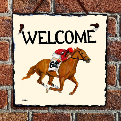 Horse Racing Welcome Hanging Slate Sign